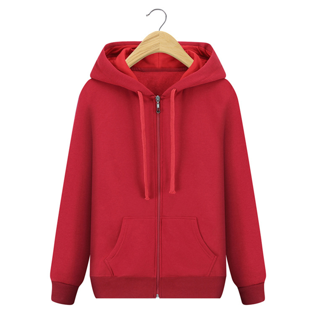 Men Simple Sports Hooded Zipper Coat