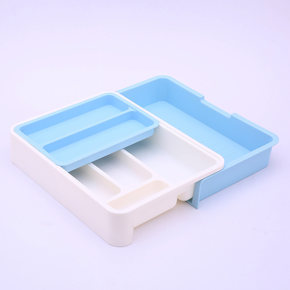 Scalable Separated Tableware Arrangement Drawer Storage Box for Kitchen Knife Fork Chopsticks Spoon White + blue