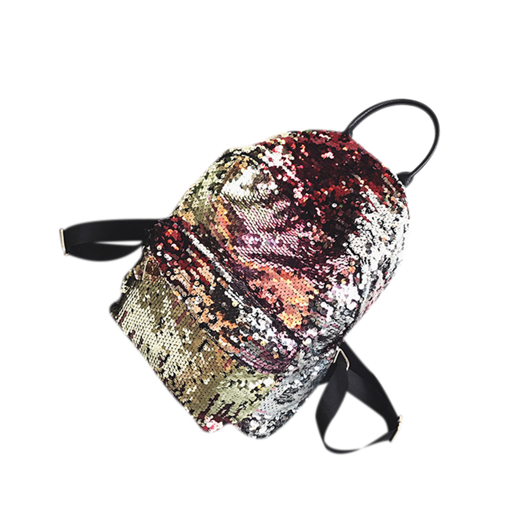 Women Fashion Sequin Backpack Pure Color Casual Street Backpack