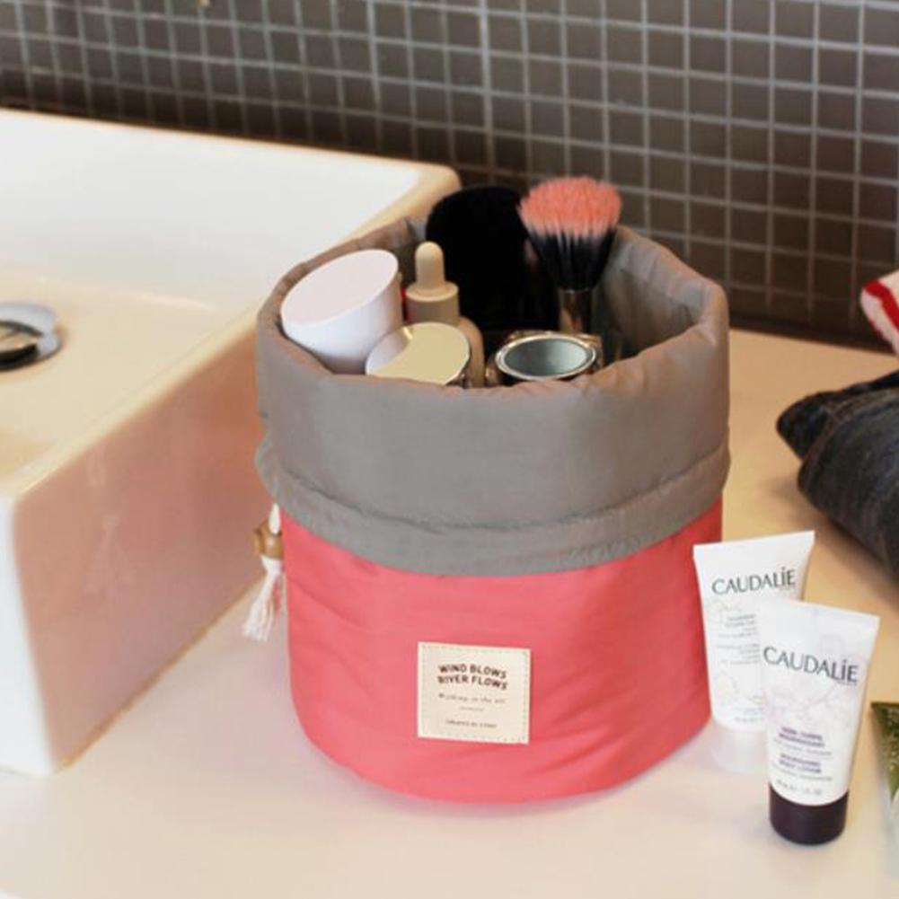 Barrel Travel Cosmetic Bag Nylon Wash Bag Dressing Box Large Capacity Toiletry Bag red