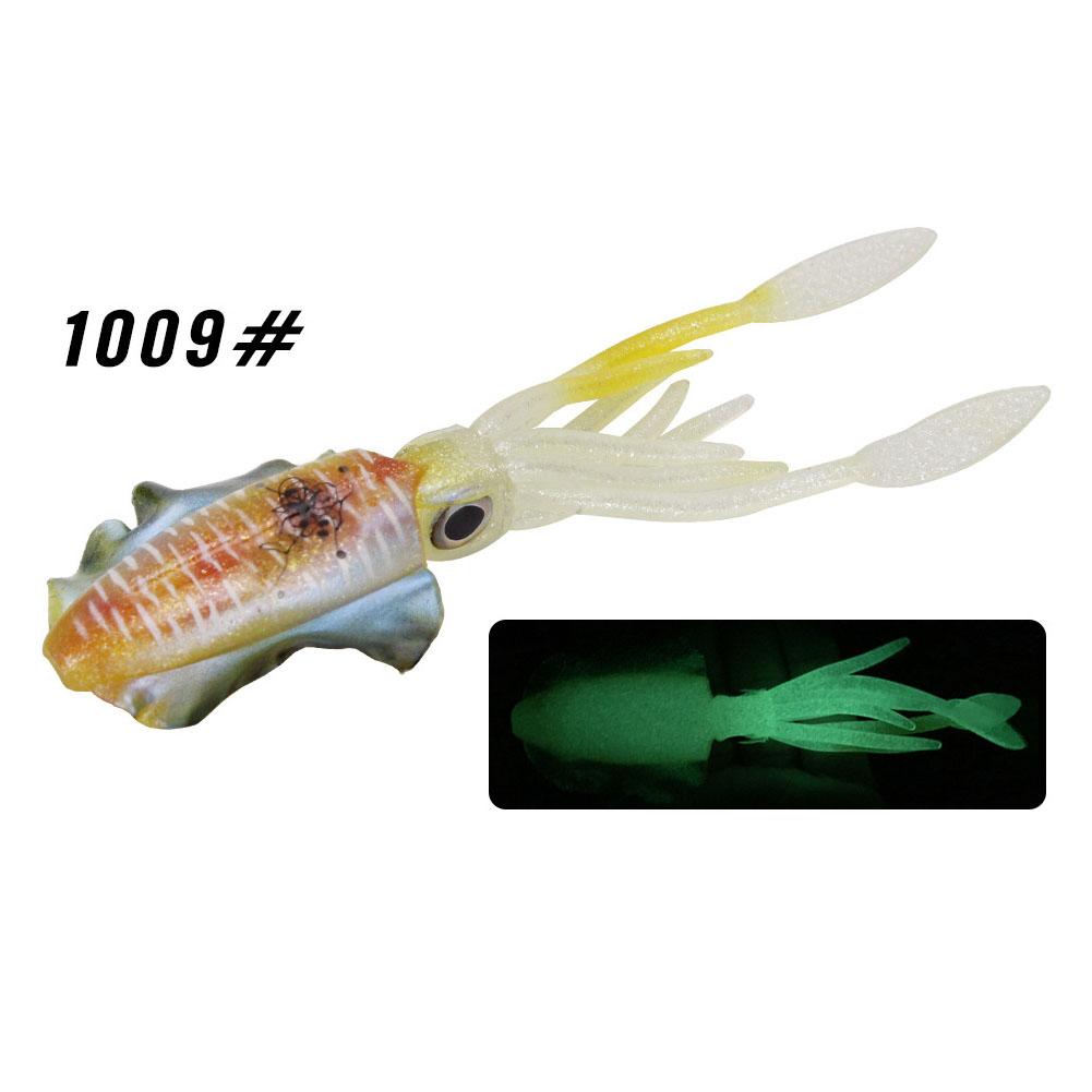 Fishing Lure Double Hook Squid Bait Glow-in-the-dark Baits 15cm60g Simulated False Bait Deep Sea Soft Bait 1009# body_15cm (octopus bait)