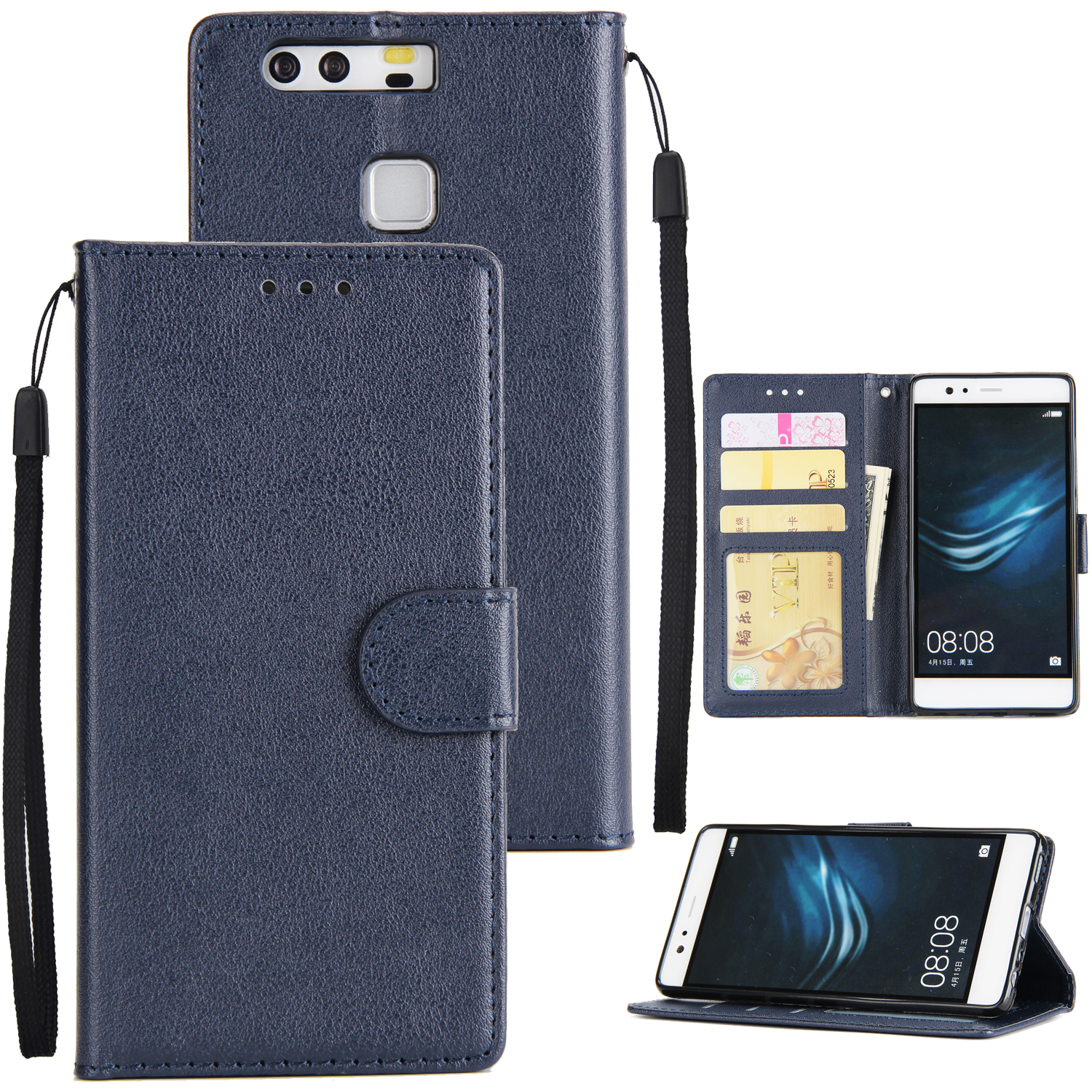 For Huawei P9 plus PU Leather Smart Phone Case Protective Cover with Buckle & 3 Card Position  blue