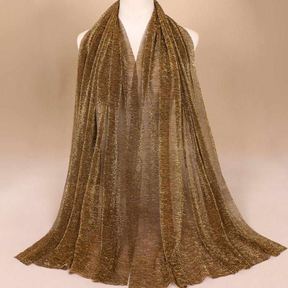 Breathable Fashion Golden Silk Thread Nylon Muslim Scarf Headscarf