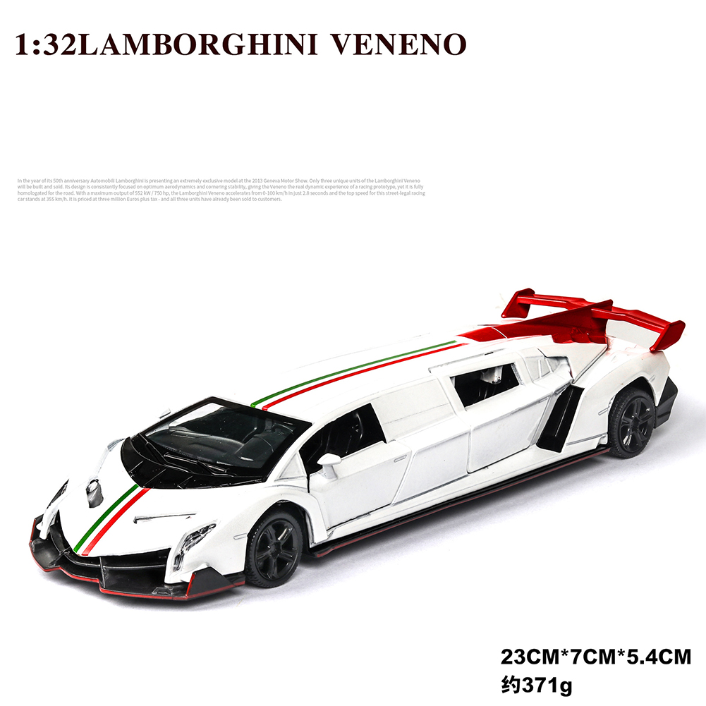 1:32 Light Sound Simulation Car Model Extended Version Doors Open Alloy Pull Back Auto Toy Gift Collection white