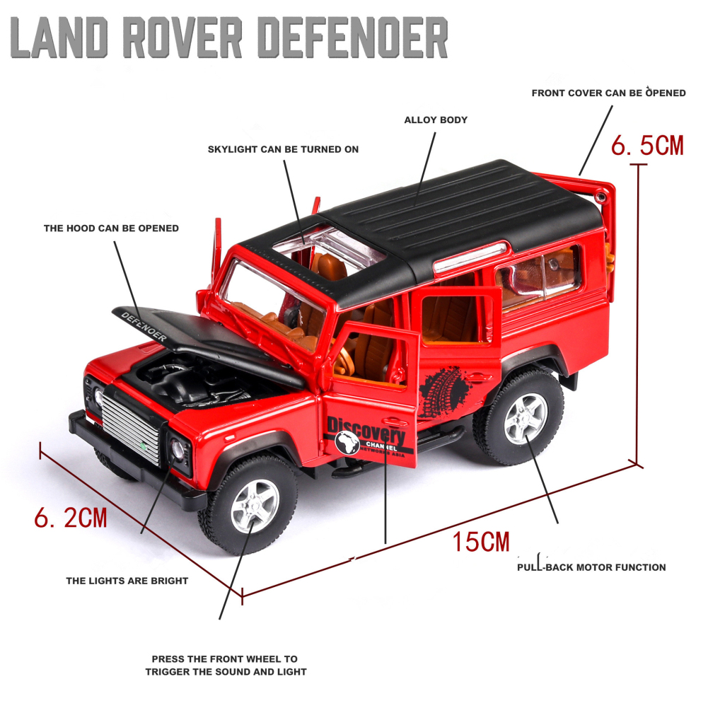 Simulation SUV Off-road Car Alloy Pull Back Auto Toy Gift Collection red