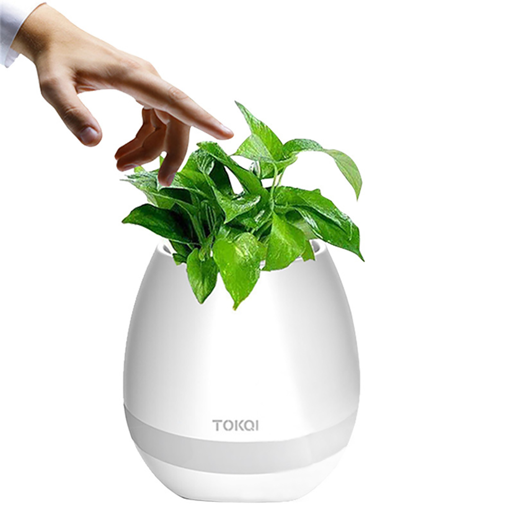 Smart Music Flower Pot Creative Can Play Music Outdoor Household Wireless BT Speaker white