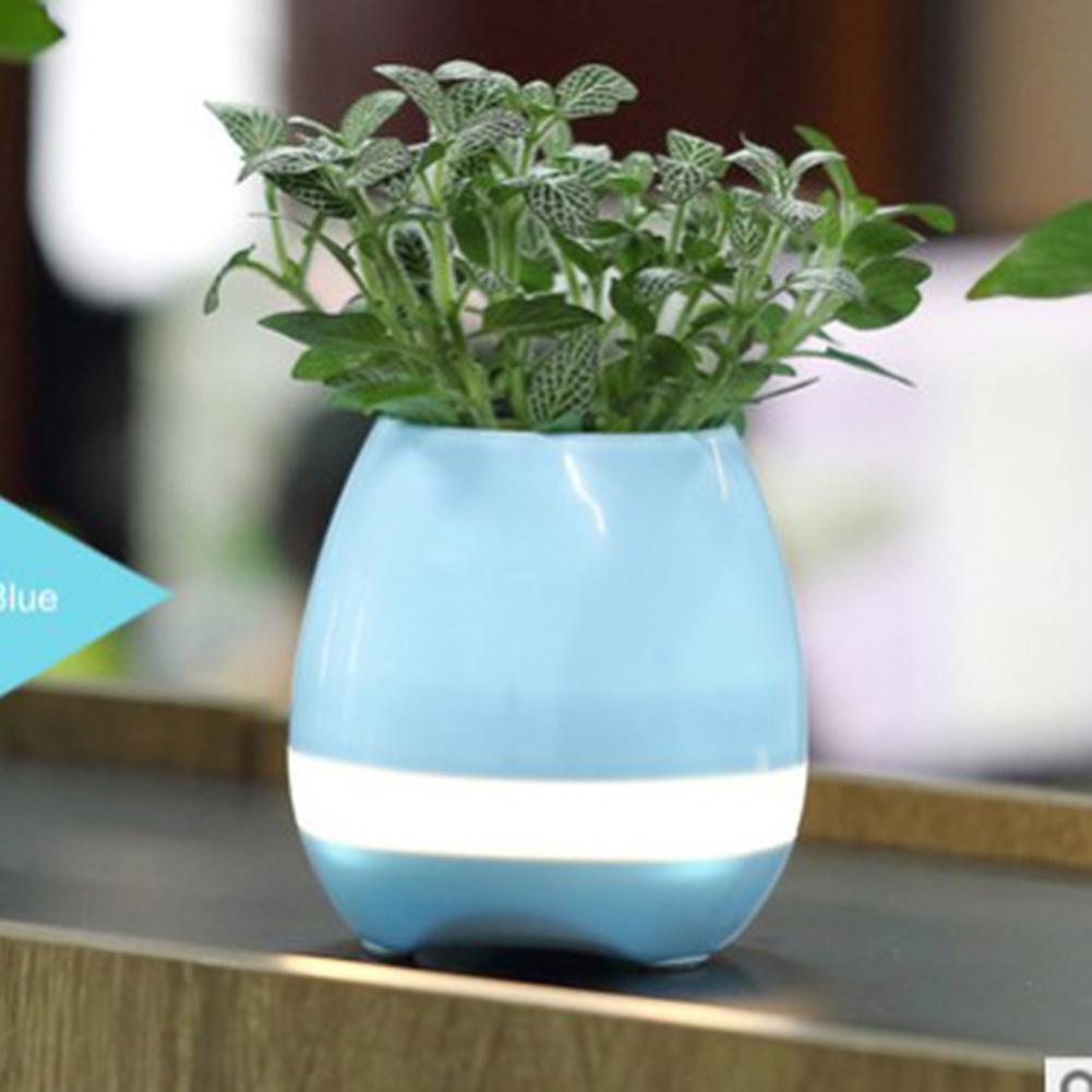 Smart Music Flower Pot Creative Can Play Music Outdoor Household Wireless BT Speaker blue