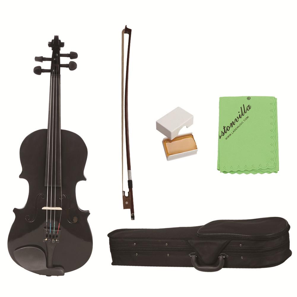 1/8 Violin Student Wood Violin Fiddle Exerciser Set with Storage Case Rosin Bow Gift for Kids Children Musical Lover black