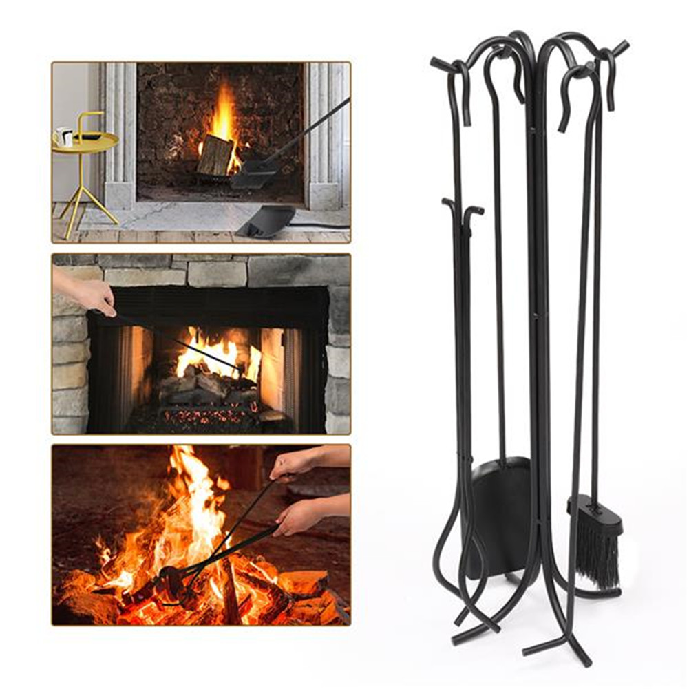 [US Direct] 5 In 1 Fireplace  Stove  Tools  Set Tongs  Shovel Heavy Duty Stand Holder Tool black_60931617