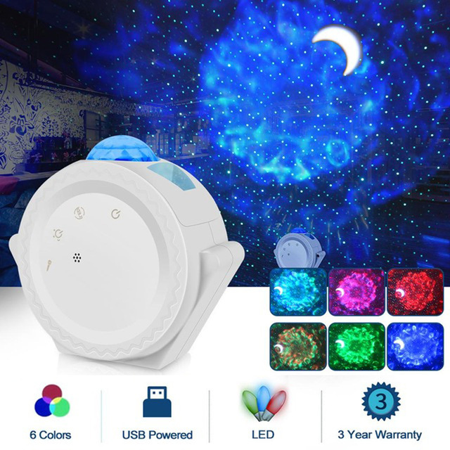 LED Projector Night Light Starry Ocean Wave Projection 6 Colors 360Degree Rotating Lamp for Kids white_Without WiFi