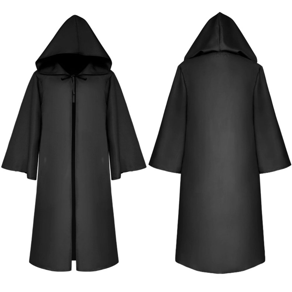 Halloween Clothing Death Cloak The Medieval Times Cloak Adult Children Goods Star Wars Cloak [Black]_Adult S