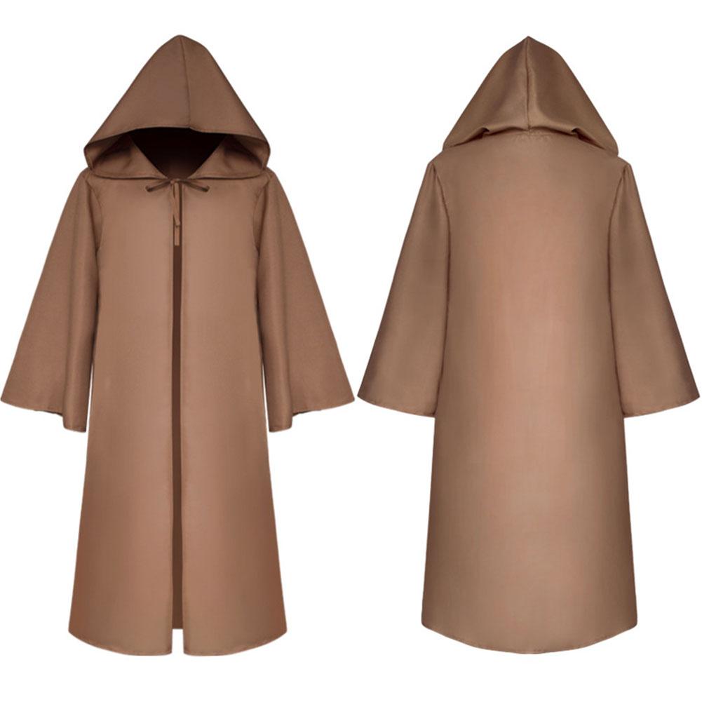 Halloween Clothing Death Cloak The Medieval Times Cloak Adult Children Goods Star Wars Cloak [Brown]_Adult L