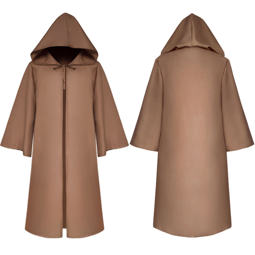 Halloween Clothing Death Cloak The Medieval Times Cloak Adult Children Goods Star Wars Cloak [Brown]_Adult M