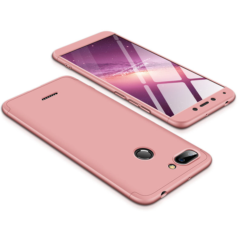 For Redmi 6 3 in 1 Hybrid Hard Case Full Body 360 Degree Protection Back Cover  Rose gold