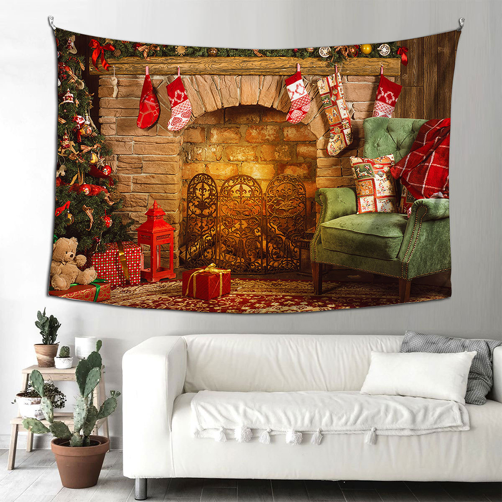 Santa Claus Halloween Fireplace Background Cloth  Tapestry 150*200cm Hanging Decoration Type A