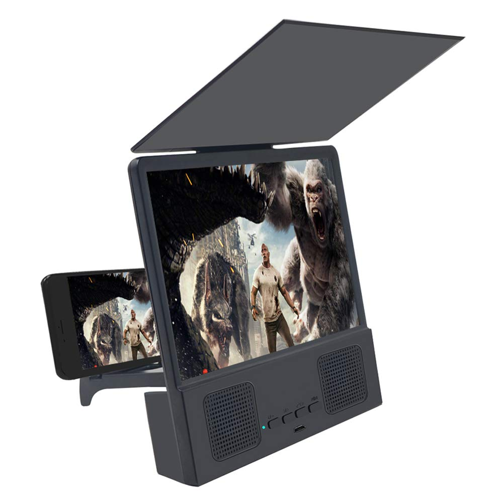 L8 Screen Magnifier 3D Smartphone Movies Amplifier with Bluetooth Speaker HD Protable Phone Video Projector with Foldable Cellphone Stand  black_8.5inch