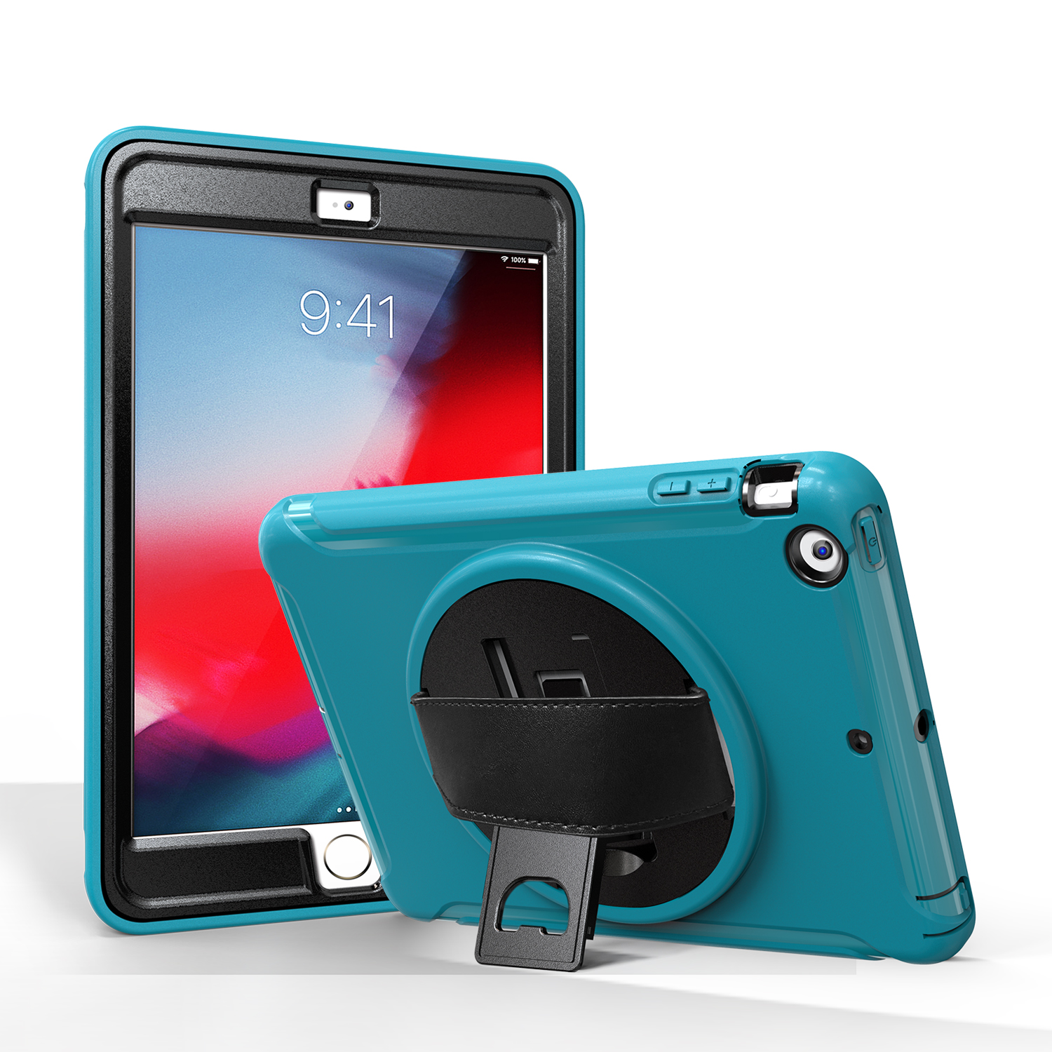 For ipad MINI 1 / 2 / 3 Wrist Handle Tri-proof Shockproof Dustproof Anti-fall Protective Cover with Bracket Light blue