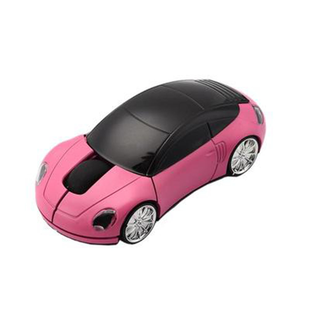 Mini Car Shape 2.4G Wireless Mouse Receiver with USB Interface for Notebooks Desktop Computers Pink