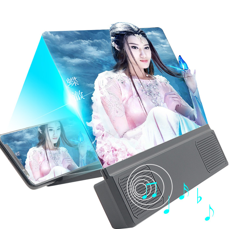 L5 12inch Phone Screen Magnifier Smartphone Movies Amplifier Video Enlarger Magnifying Glass 3D Visual Enjoyment with Foldable Phone Stand black_HD