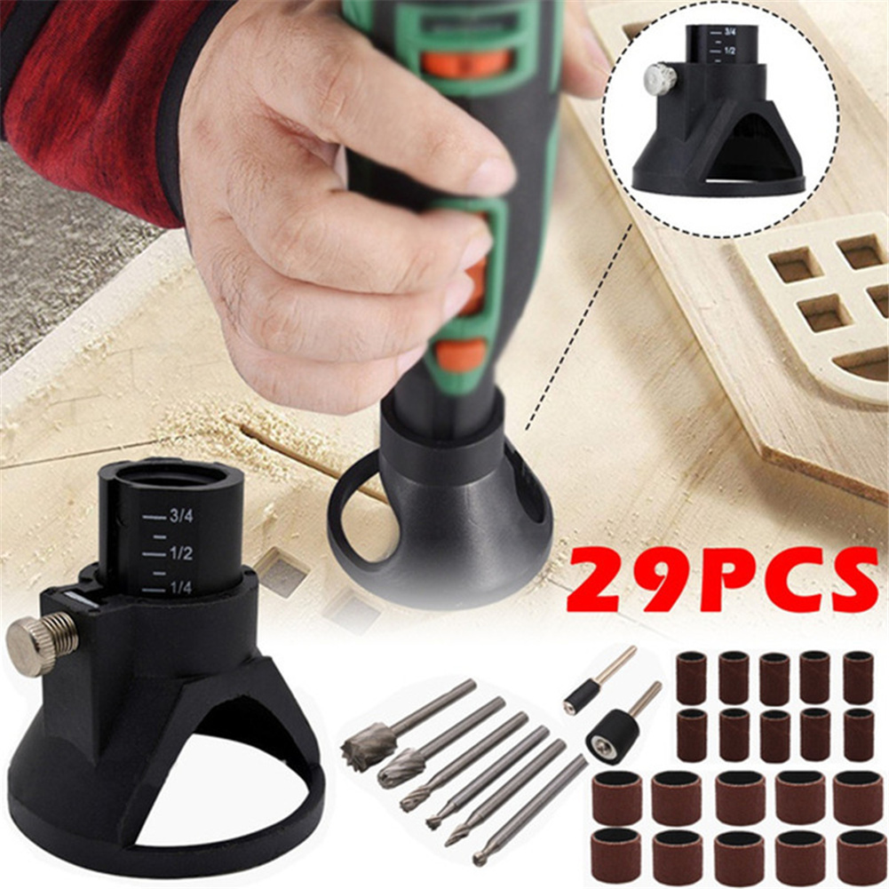 29pcs/set Rotary  Power  Drill Kit Grinding Locator  with Twist Drill Bit Multifunctional Woodworking  Tool 29Pcs (horn cover+milling cutter+sand ring)