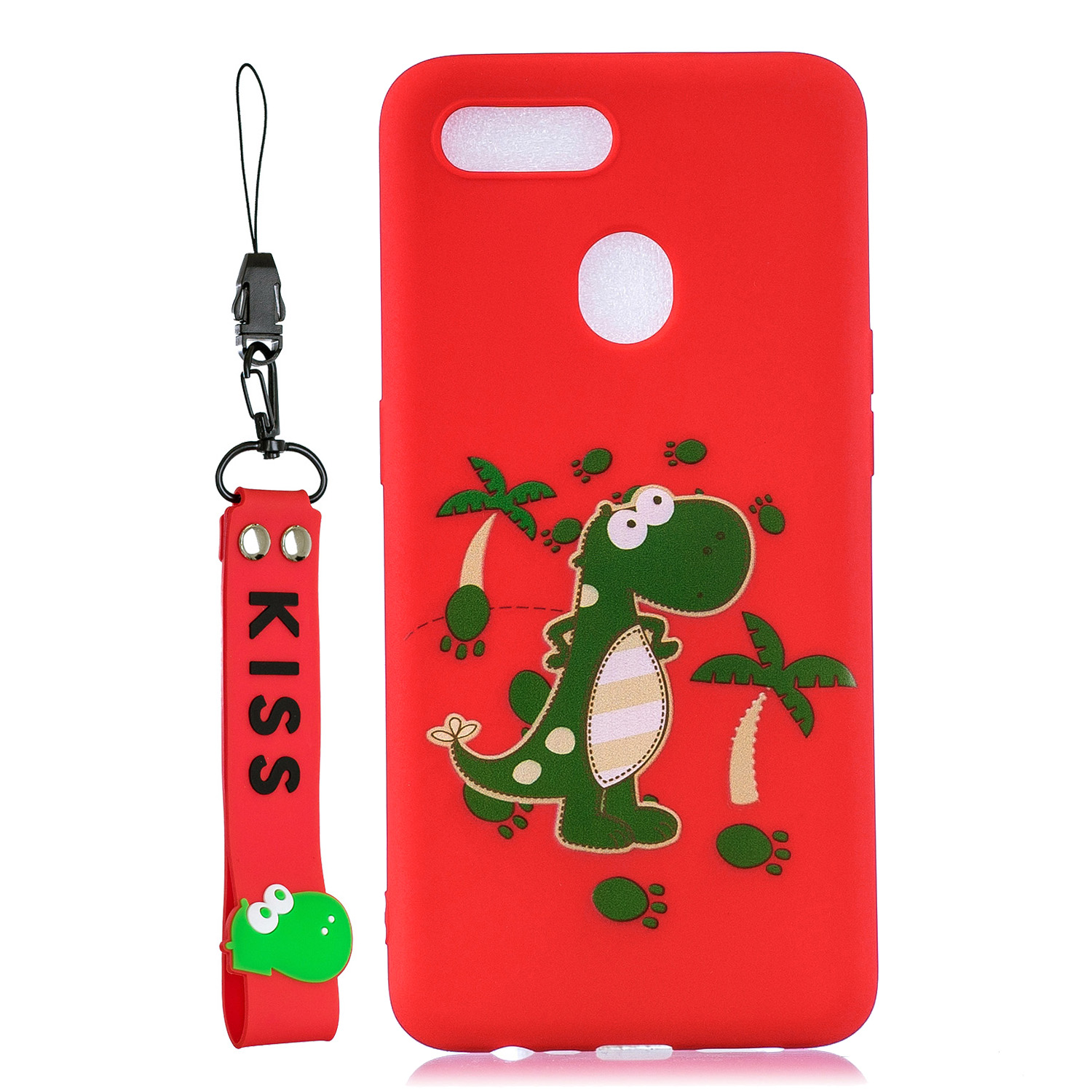 For OPPO A7 Cartoon Lovely Coloured Painted Soft TPU Back Cover Non-slip Shockproof Full Protective Case with Lanyard red