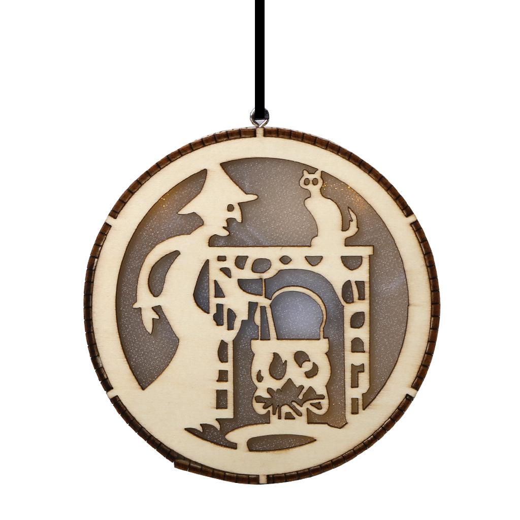 LED Wooden Hollow Light Round Shape Hanging Pendant Holiday Party Decorative Night Light JM01495