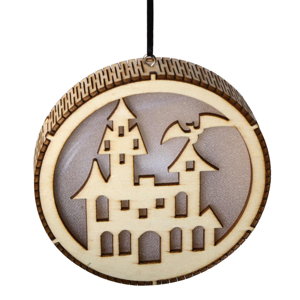 LED Wooden Hollow Light Round Shape Hanging Pendant Holiday Party Decorative Night Light JM01494