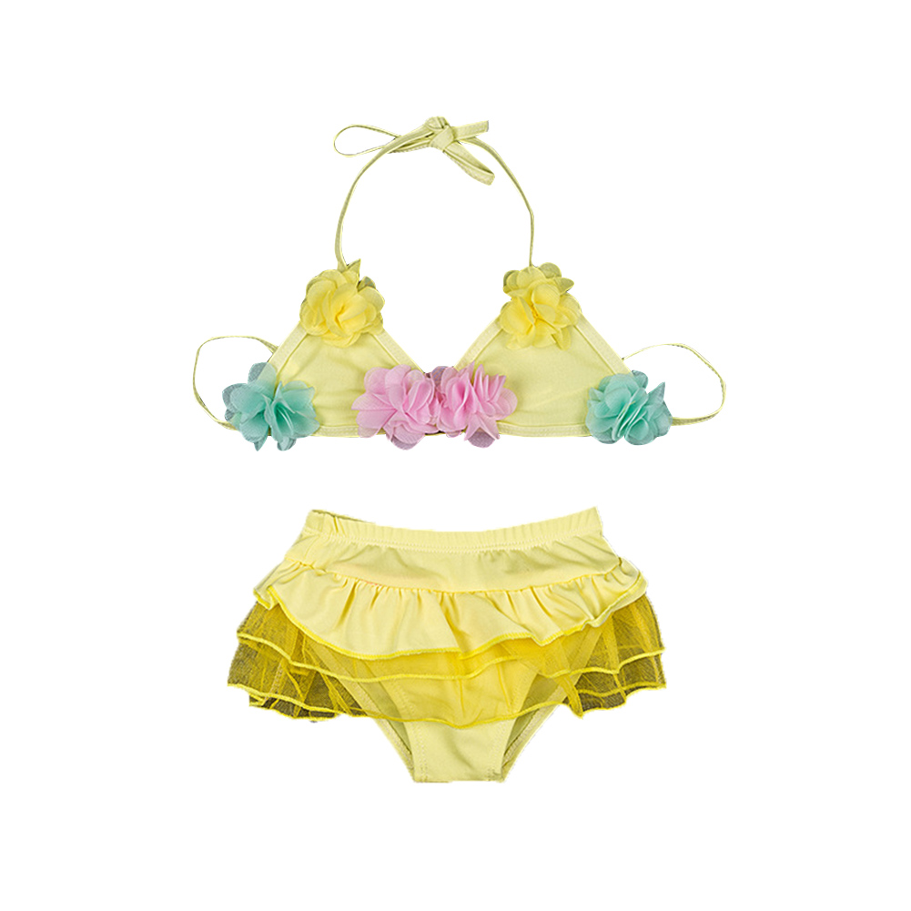 Girls Lovely Princess Polka Dot Flower Skirt Split Swimsuit Set yellow_One size (body weight 14-22lb)