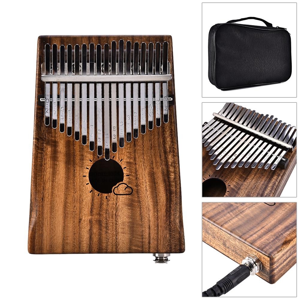 17 Keys EQ Kalimba Thumb Piano Link Speaker Electric Pickup Music Craft Gift(Sun Cloud) MS17AEQ