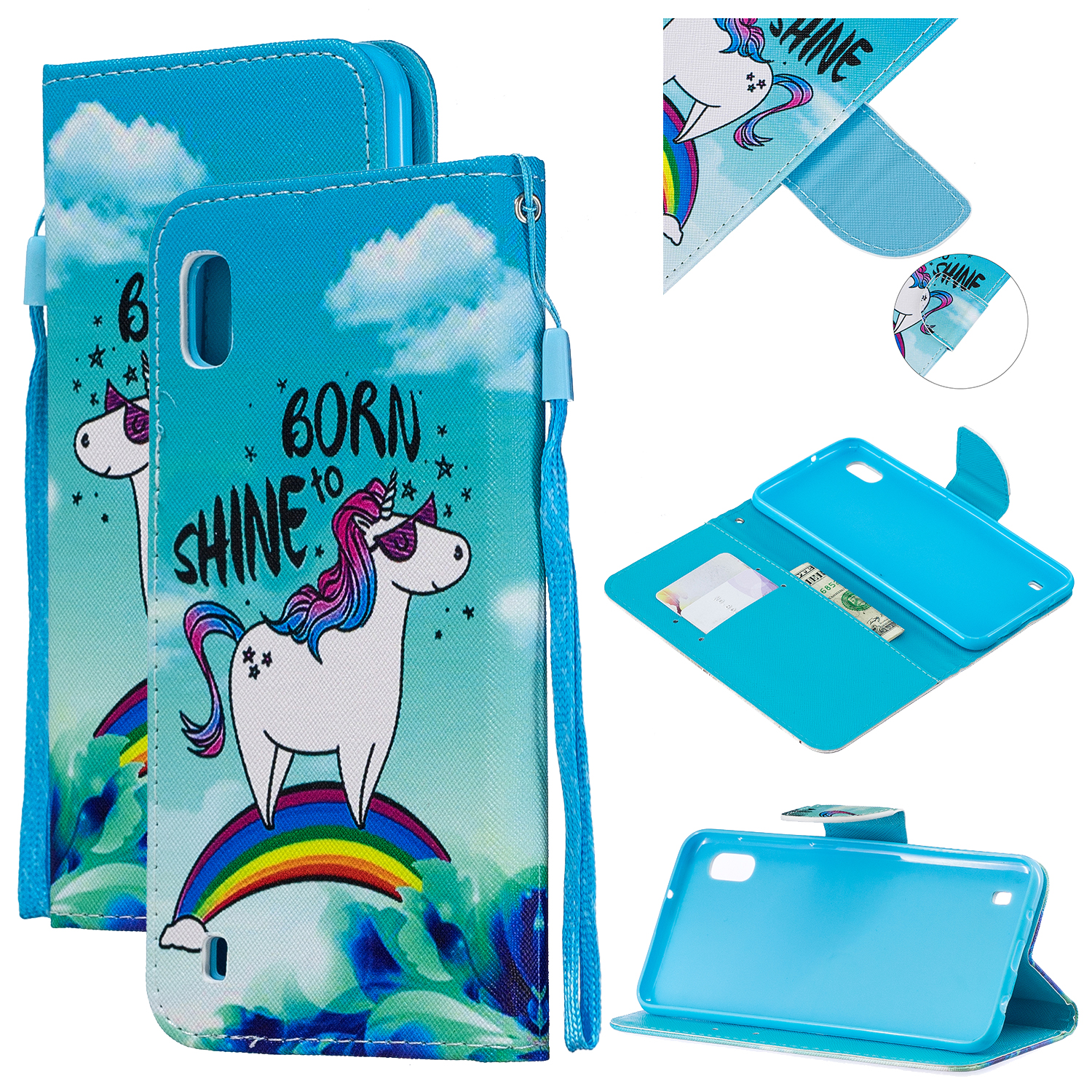 For Samsung A10/A20/A30 Smartphone Case PU Leather Wallet Design Cellphone Cover with Card Holder Stand Available Rainbow horse