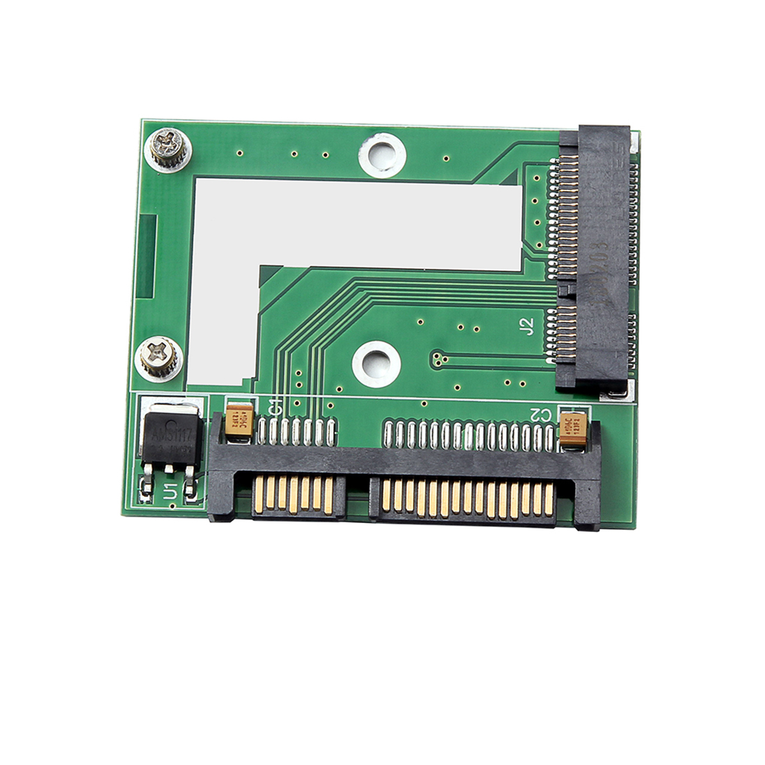 6.0 Gbps Half-height/5cm PCI-E MSATA SSD to 2.5-inch SATA Adapter Card Converter SATA3 MINI PCI Express Module Board for Desktop Computer green