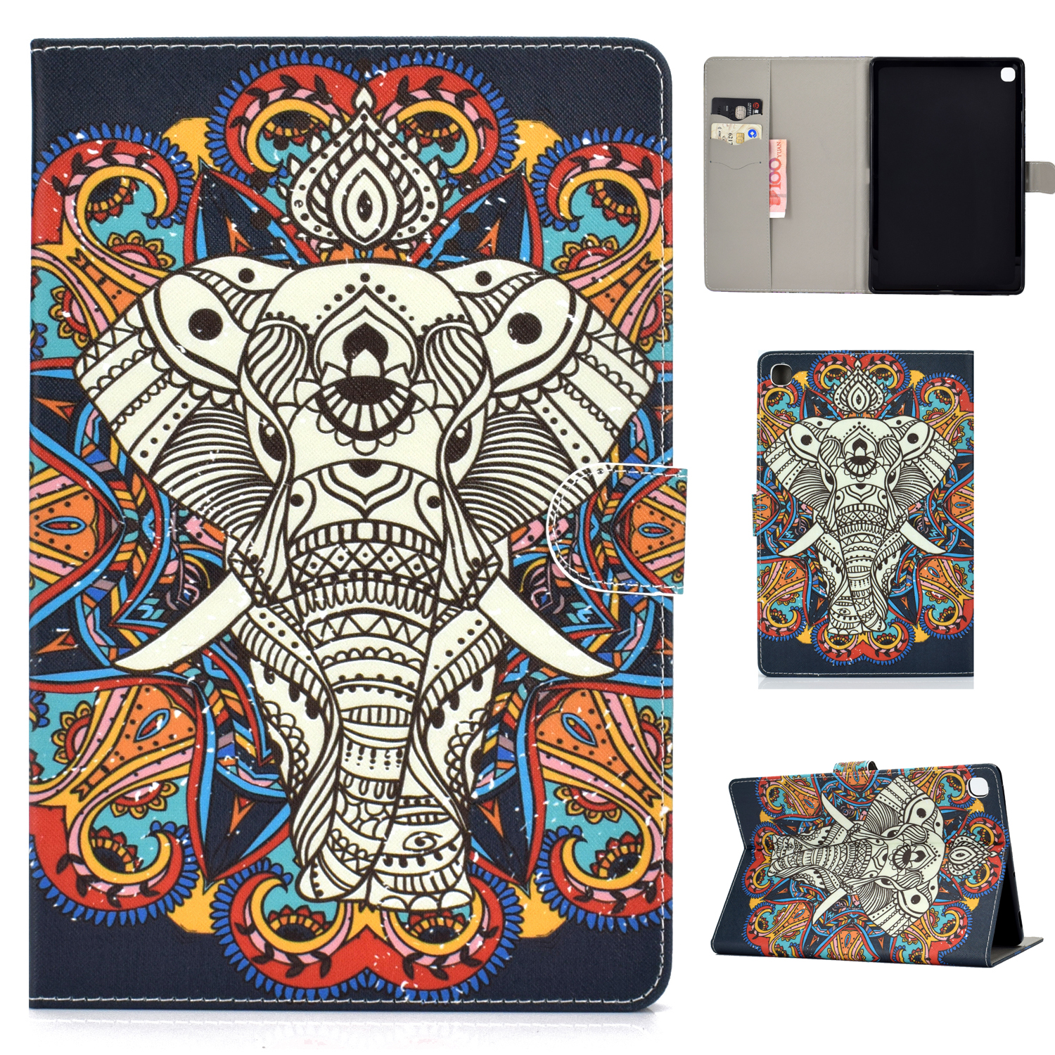 For Samsung T510/T515 Laptop Protective Case with Front Snap Cute Cartoon Color Painted Smart Stay PU Cover  Fun elephant