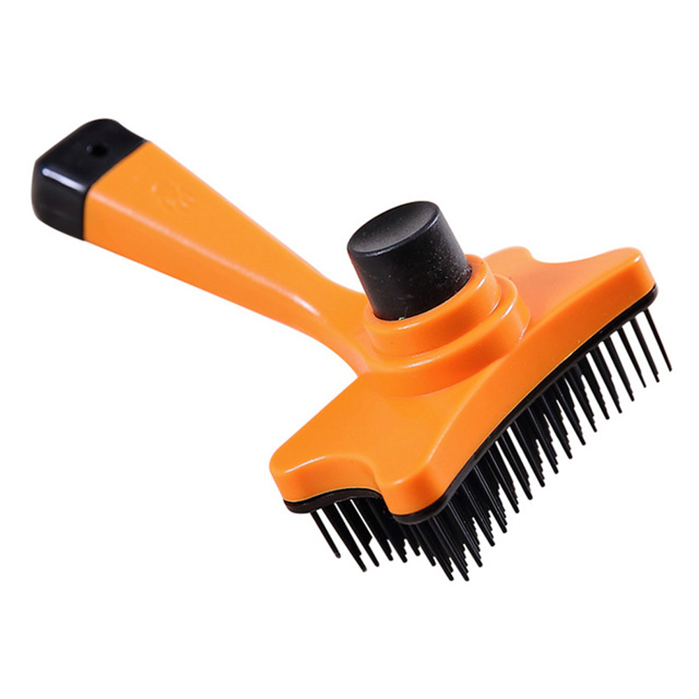 Pet Brush Hair Removal Grooming Comb for Small Dog Cat Supplies 12.5X6.5_Orange