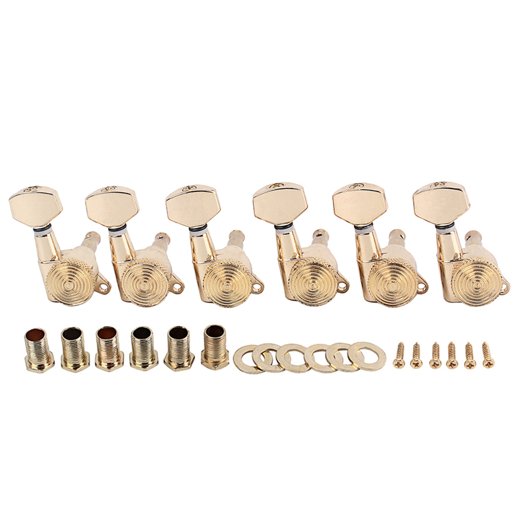 Guitar knob Gold Color with Lock 6R Ferrule Threaded Bush Screws Set for Musical Instrument Accessories (Box Packing) Gold