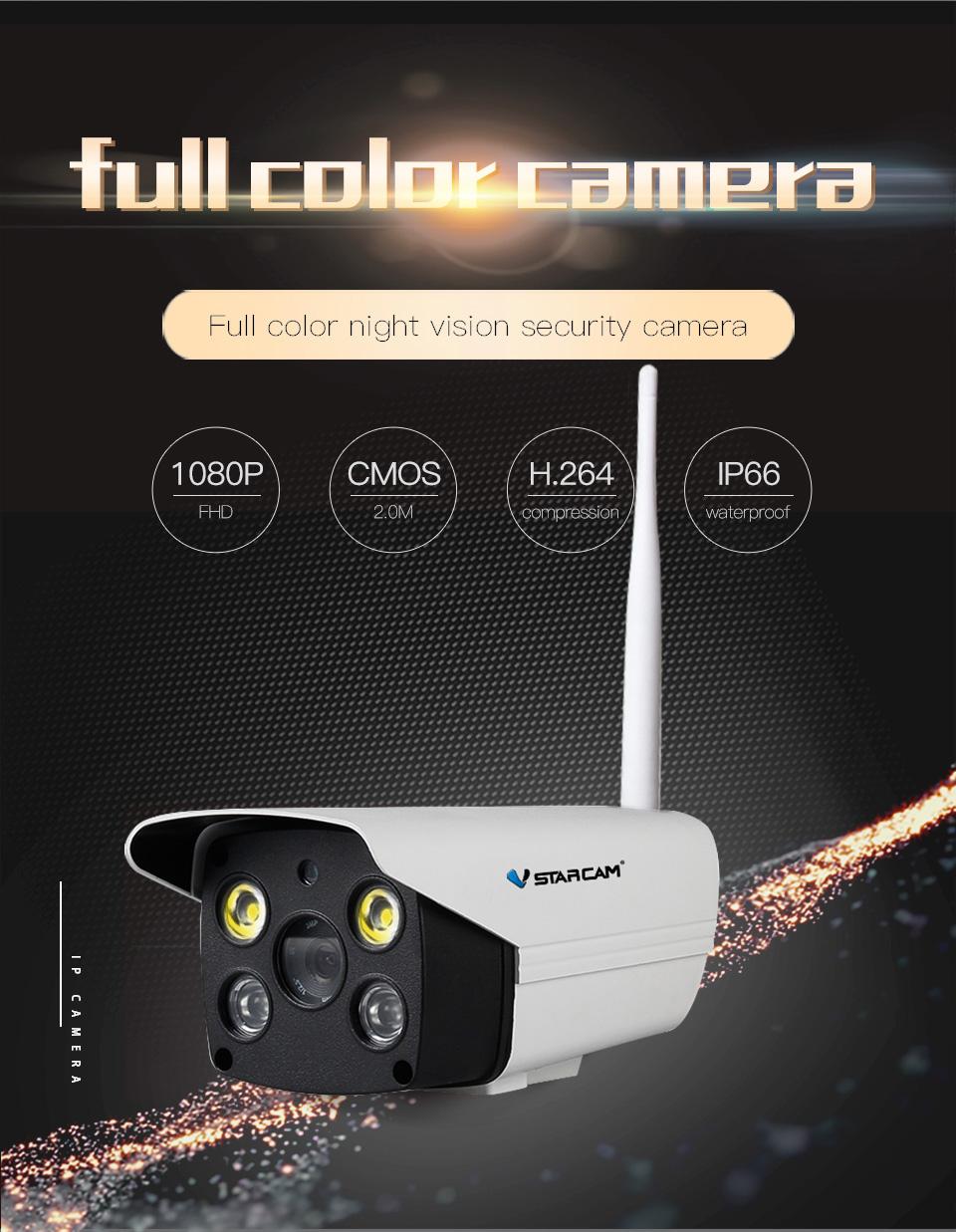 Vstarcam C18S 1080P Wifi Camera CCTV Waterproof Outdoor Full Color Night Vision Security Camera Infrared Bulllet Camera  US plug