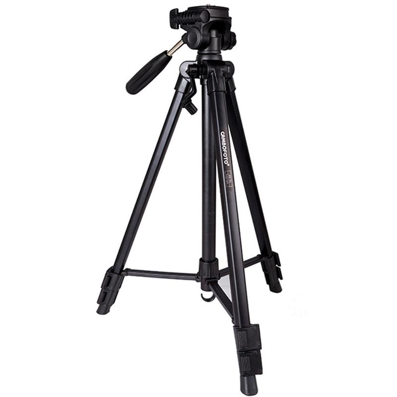 SAB233 Tabletop Aluminum Tripod with Rocker Arm,3-Way Pan/Tilt Head, Quick Release Plate for Cameras / FPV Monitors -Black