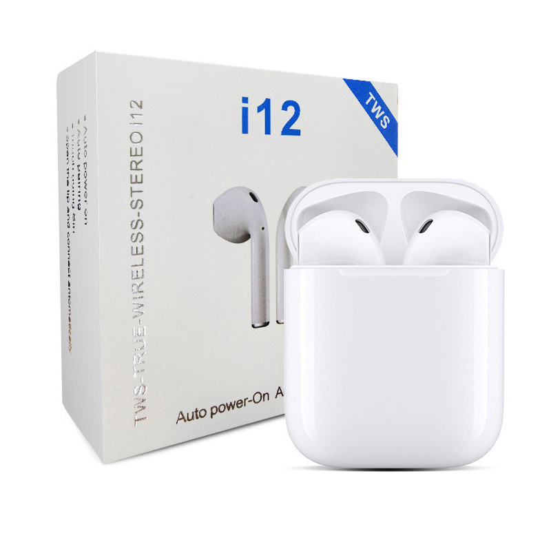 Wireless Bluetooth 5.0 i12 Tws Mini EarbudsTouch Control Earphones Headsets for Iphone Samsung Xiaomi Huawei  white