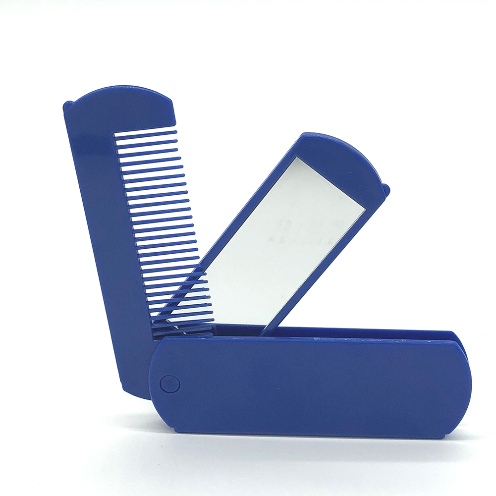 2 in 1 Folding Pocket Comb with Mirror for Grooming & Combing Hair Travel Portable Combs blue