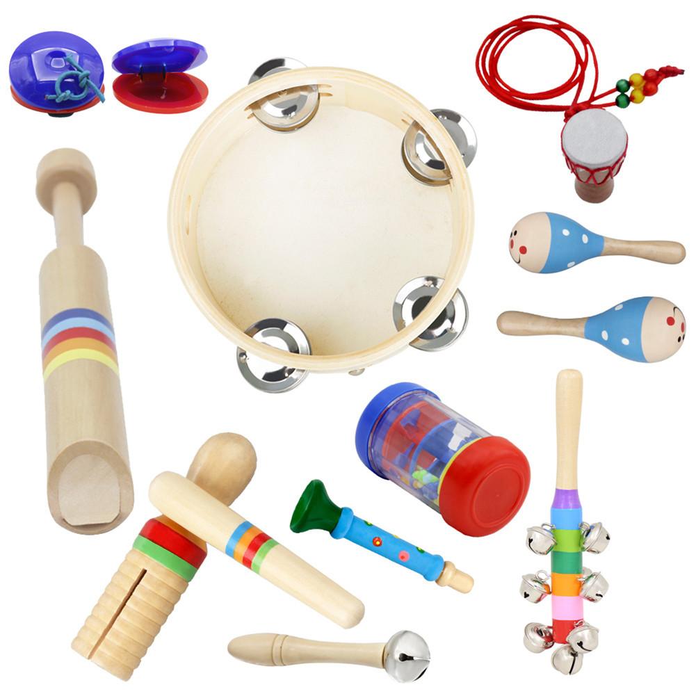 10pcs/set Orff Wooden Musical Instrument Set Hand Tambourine+Rain Sound Tube+Colorful Sound Tube+Flute+Rattle+Barbell+Horn+Maracas+Necklace+Castanet 10pcs/set