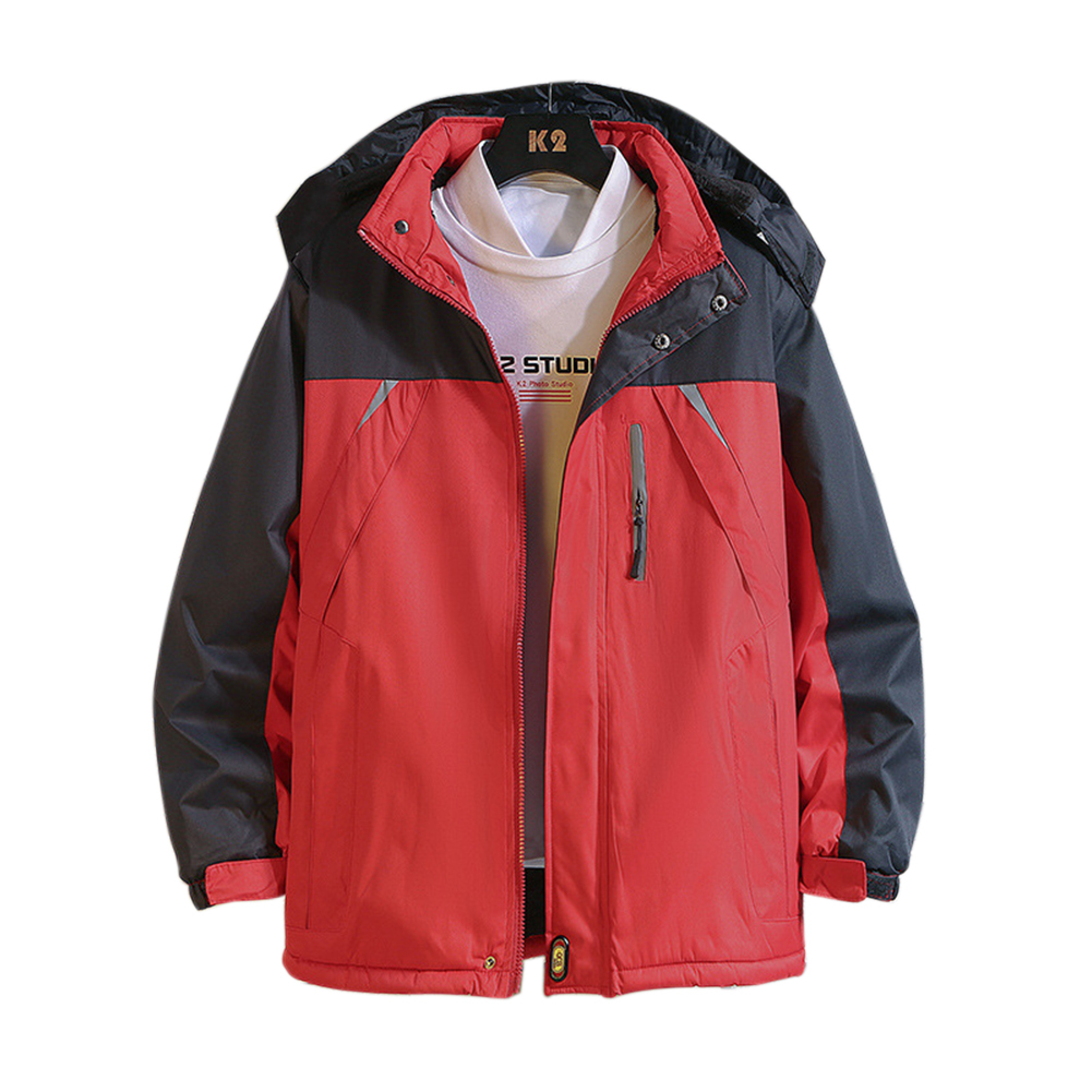 Men's and Women's Jackets Winter Windproof and Rainproof Thickening Outdoor Mountaineering Clothes Reflective strip red_4XL
