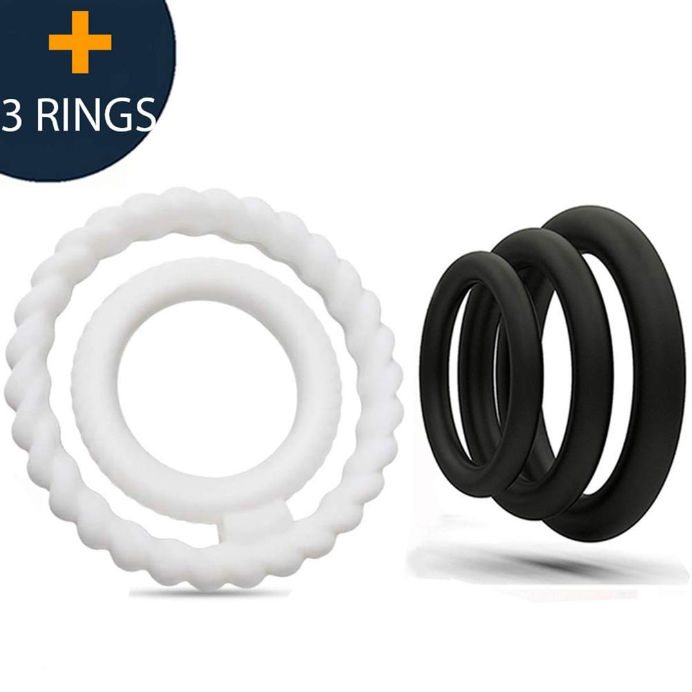 4pcs/set Double Silicone Penis Ring For Men Couple Medical Grade Pure Sex Toy Erection Enhancement 4-piece set