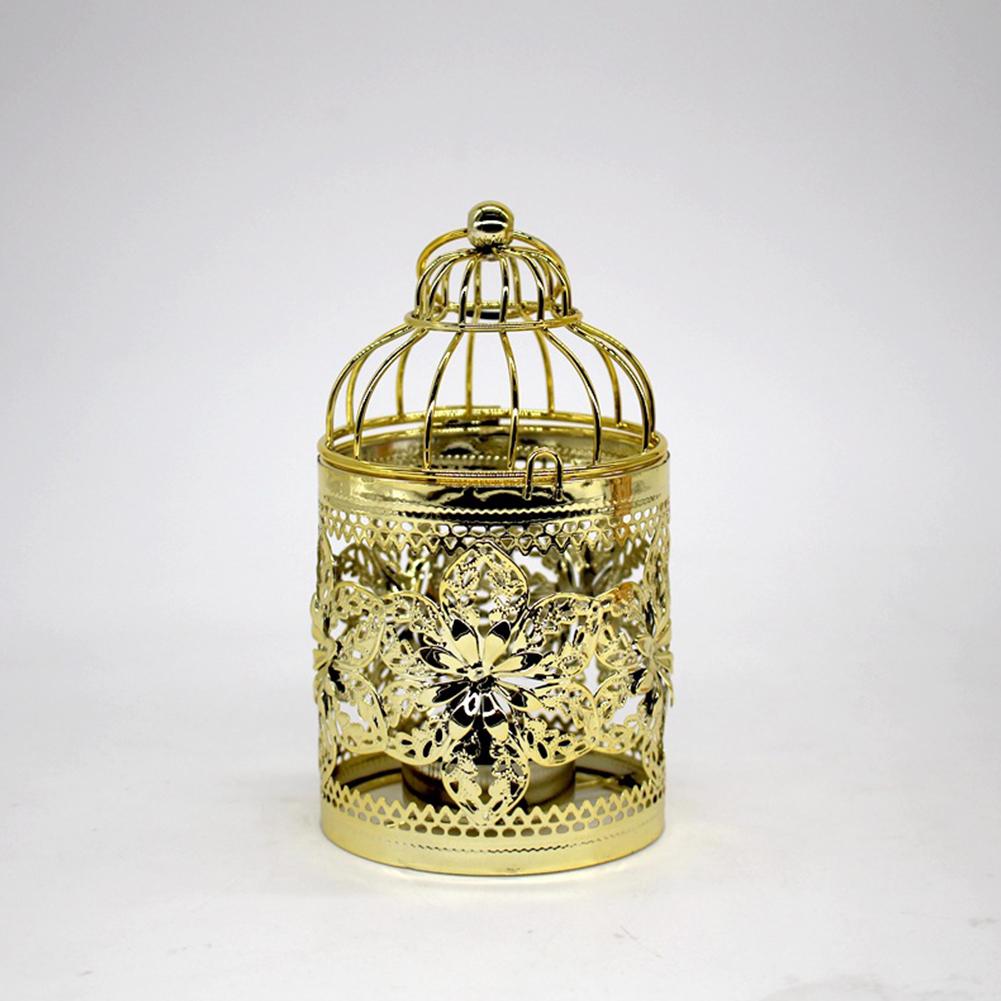 Romantic Birdcage Candlestick Metal Wedding Candle Centerpieces Tables Iron Candle Holder E # gold_8*8*14cm
