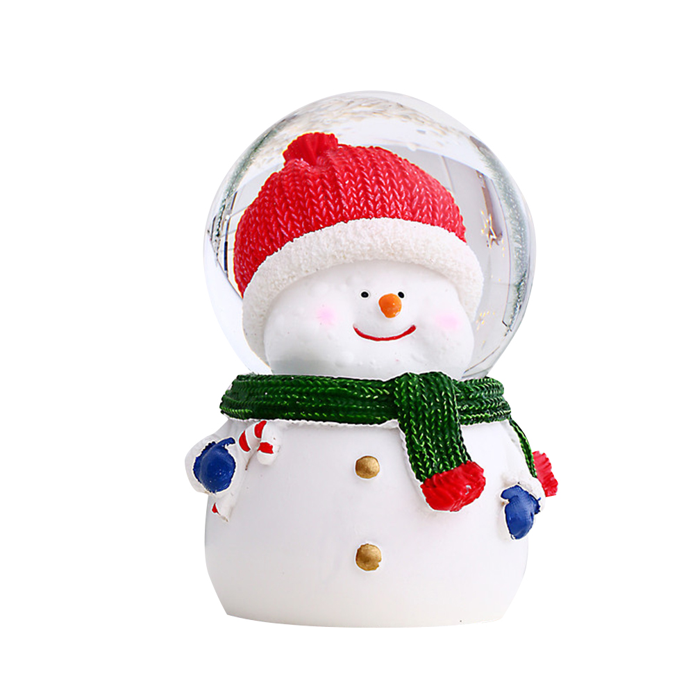 Resin Christmas Crystal  Ball Santa Claus Snowman With Lights For Desktop Ornaments Gifts For Children New luminous crystal ball [large snowman]