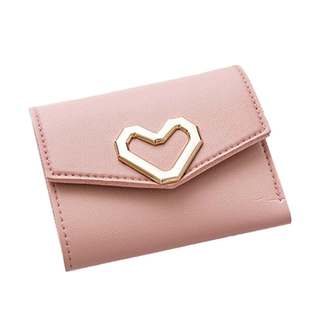 Women Short Wallet Heart 3-folds Candy Color PU Leather Magnetic Buckle Square Purse Pink