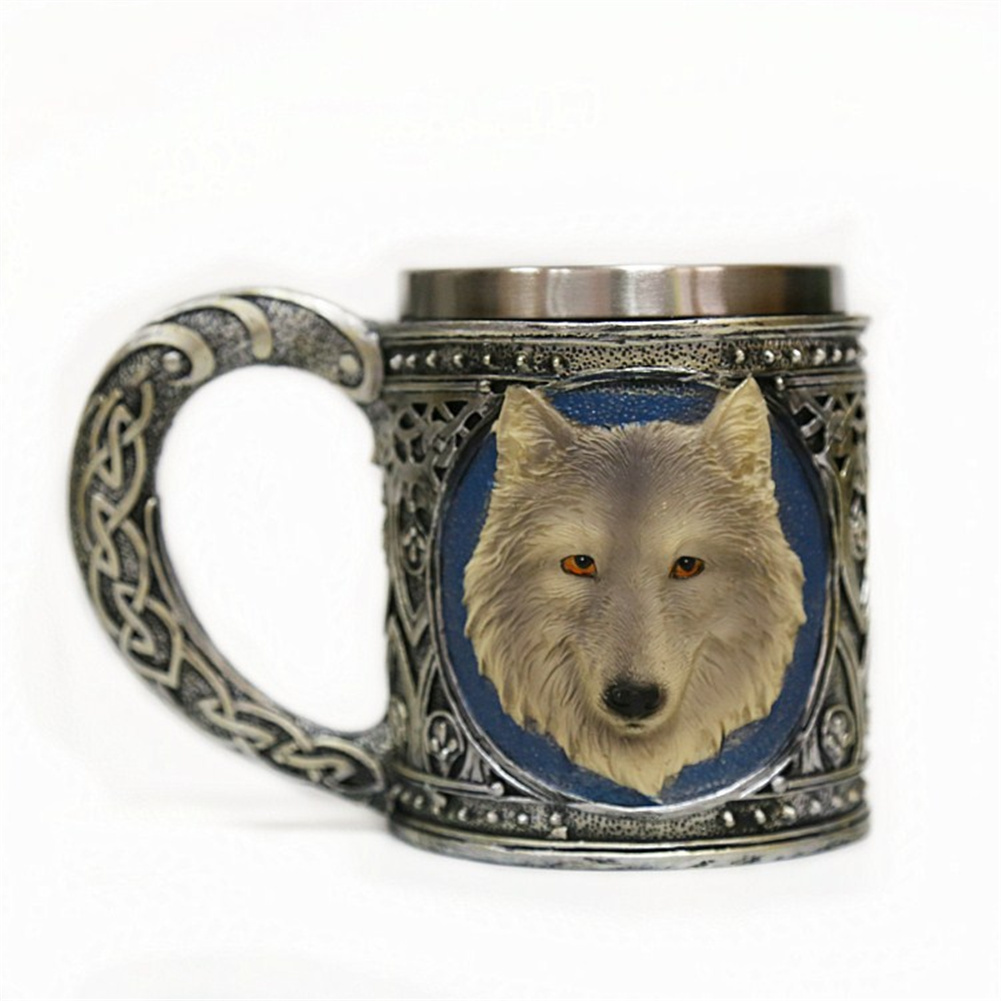 Drinking  Cup Tableware Water Cup Three-dimensional Wolf Head Print Mug Picture section