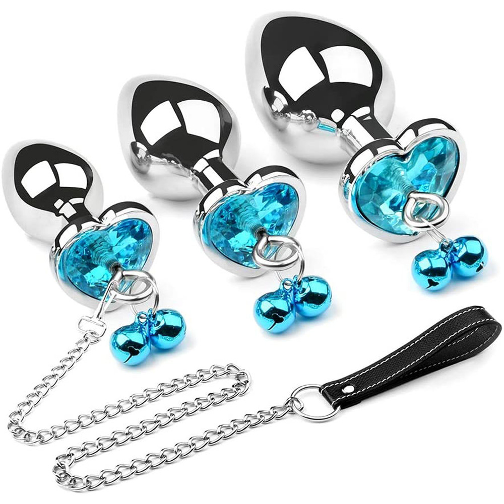 Anal Plug Set Metal Masturbation Sex Toy Men Buttplug Plug Hook with Bell and Crystal Heart Shaped Diamond S belt traction chain