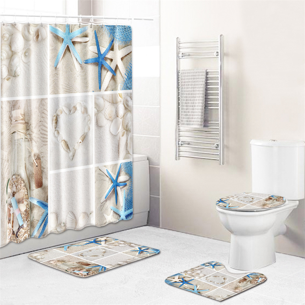 4  Pcs Non-slip Rug Toilet  Lid  Cover Bath  Mat Waterproof Bath  Curtain zd190725-001_45*75cm