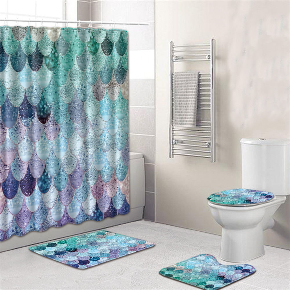 4  Pcs Non-slip Rug Toilet  Lid  Cover Bath  Mat Waterproof Bath  Curtain yuwen_45*75cm
