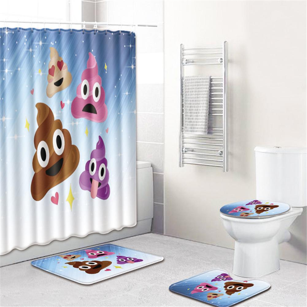 4  Pcs Non-slip Rug Toilet  Lid  Cover Bath  Mat Waterproof Bath  Curtain c601-3_45*75cm