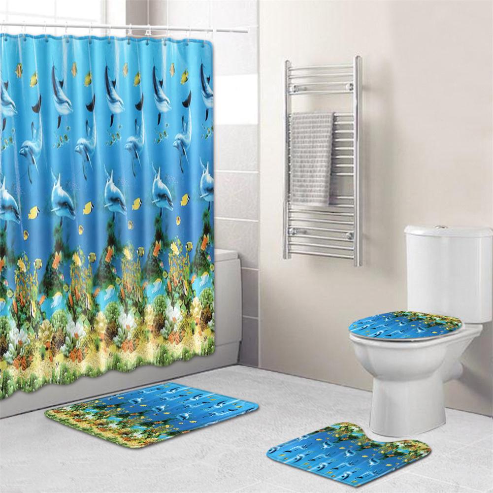 4  Pcs Non-slip Rug Toilet  Lid  Cover Bath  Mat Waterproof Bath  Curtain zp200608-b001_45*75cm